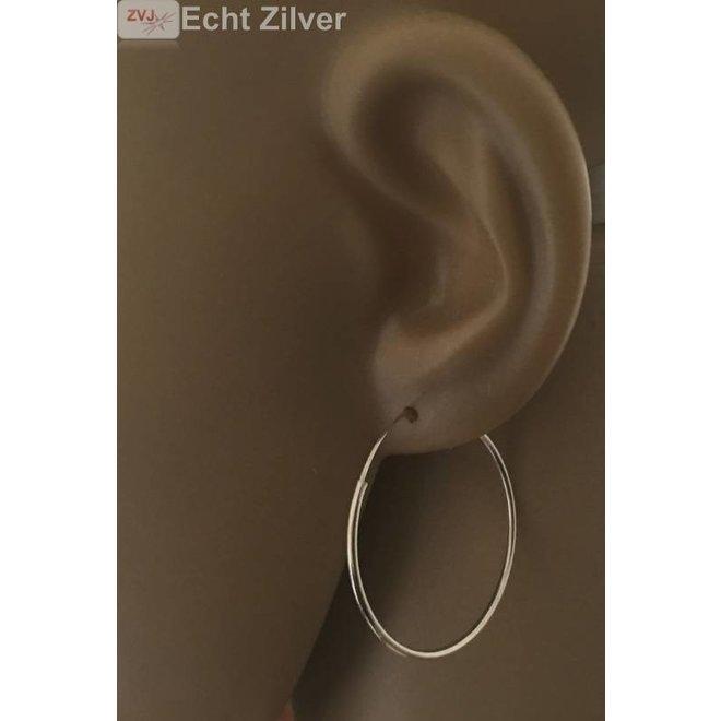 Zilveren creolen oorringen groot 30 mm 1.2 mm breed