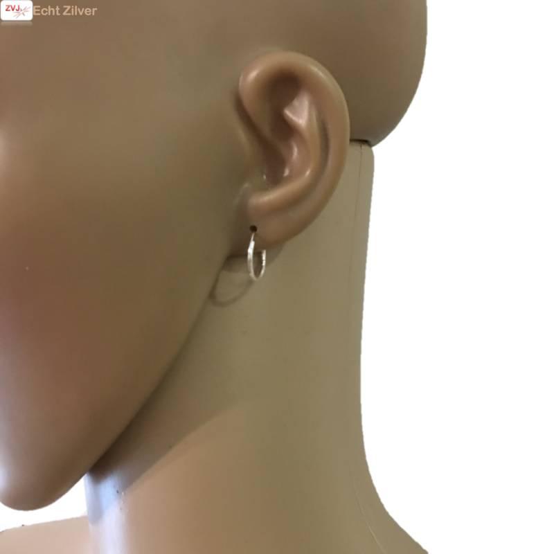 Zilveren kleine creolen oorringen ronde buis 14 x 1.2 mm breed-2