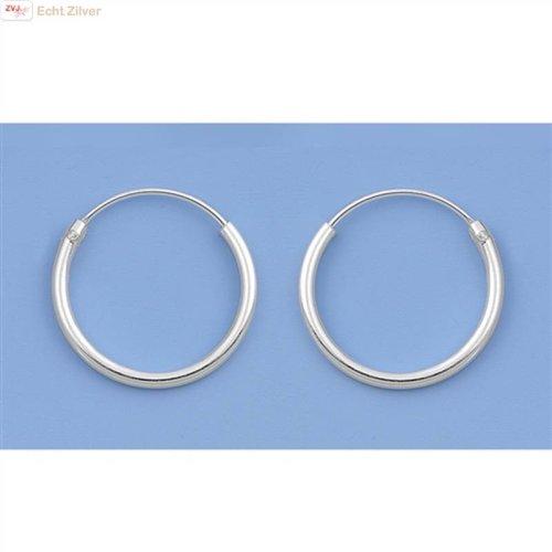 ZilverVoorJou Zilveren kleine creolen oorringen ronde buis 14 x 1.2 mm breed