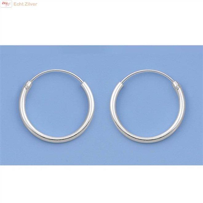 Zilveren kleine creolen oorringen ronde buis 14 x 1.2 mm breed