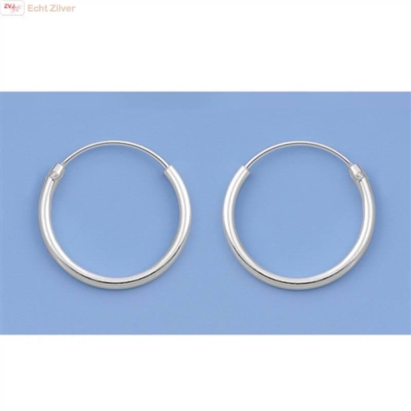 Zilveren kleine creolen oorringen ronde buis 14 x 1.2 mm breed-4