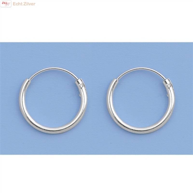 Zilveren mini creolen oorringen ronde buis 12 x 1.2 mm breed-4