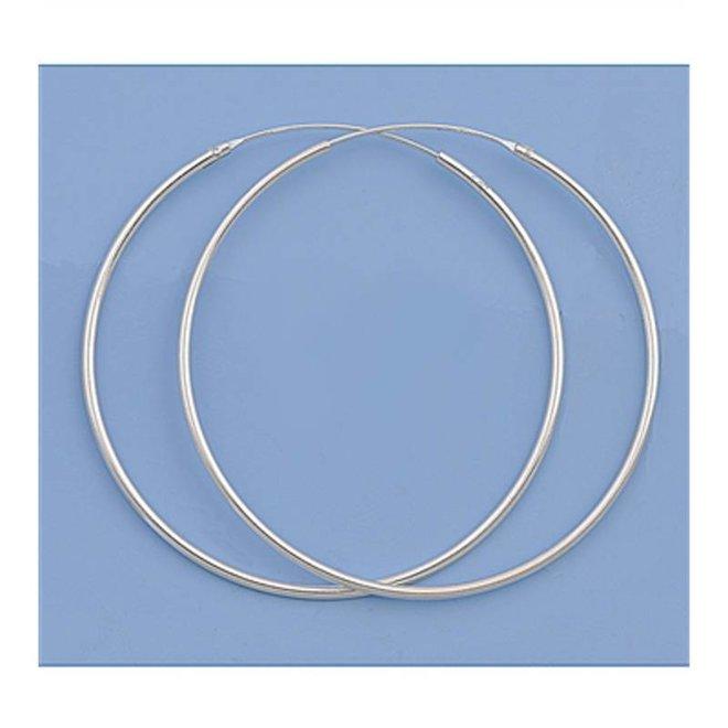 Zilveren creolen oorringen groot 45  mm 1.2 mm breed