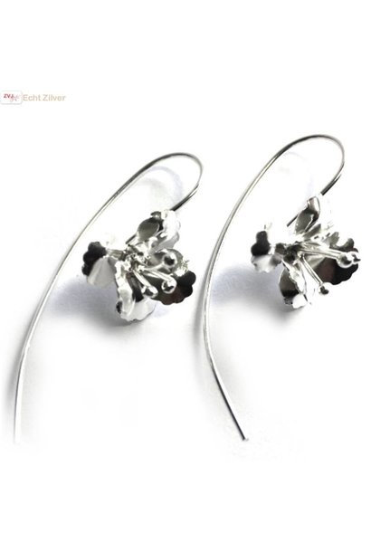 Zilveren grote haak bloem oorbellen threader