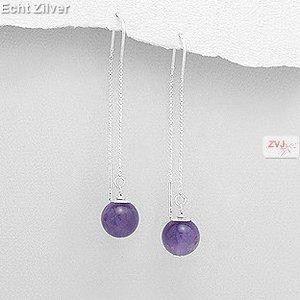 ZilverVoorJou Zilveren paarse amethist doorhaaloorbellen threader