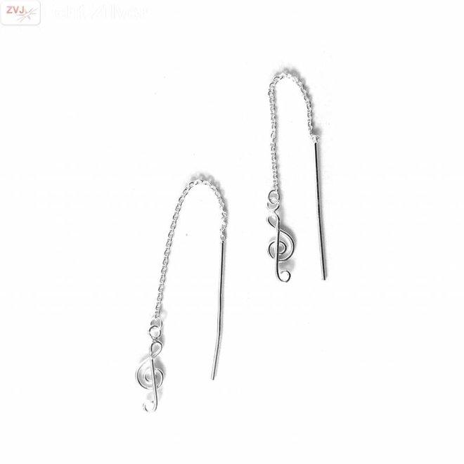 Zilveren doorhaaloorbellen vioolsleutel