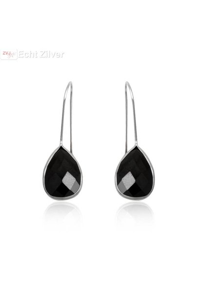 Zilveren oorhangers zwarte zirkonia druppel