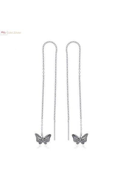 Zilveren vlinder doortrekoorbellen threader