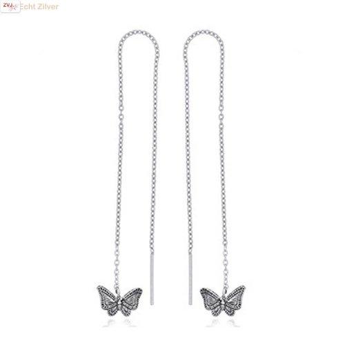 ZilverVoorJou Zilveren vlinder doortrekoorbellen threader