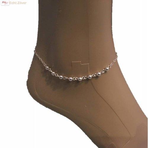 ZilverVoorJou Zilveren enkelbandje 8 zilveren balletjes
