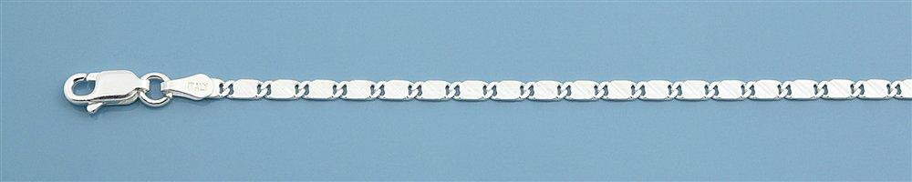Zilveren platte schakel enkelketting 25 cm-2