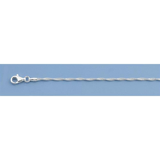 Zilveren sierlijk gedraaid  enkelkettinkje 25 cm