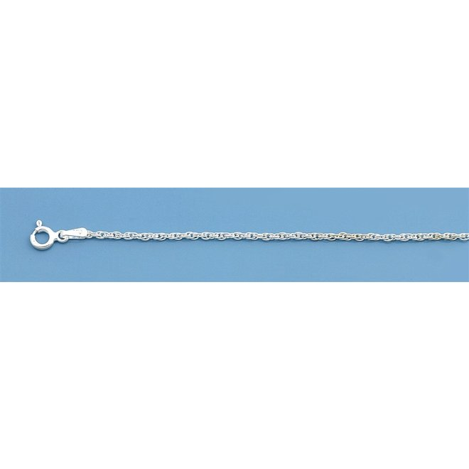 Zilveren loose rope enkelkettinkje 25 cm
