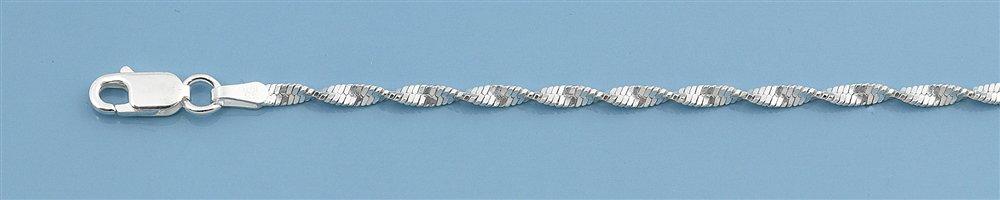 Zilveren twist enkelkettinkje 25 cm-2