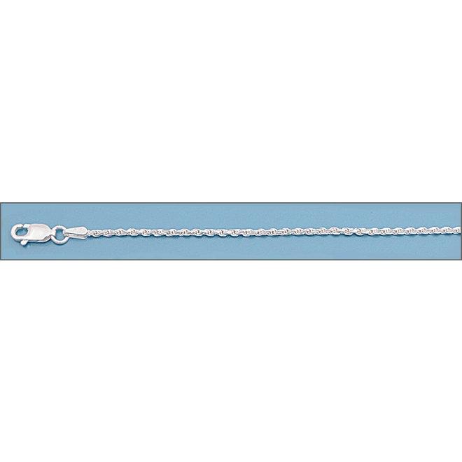 Zilveren rope enkelketting  22 cm 1.6 mm