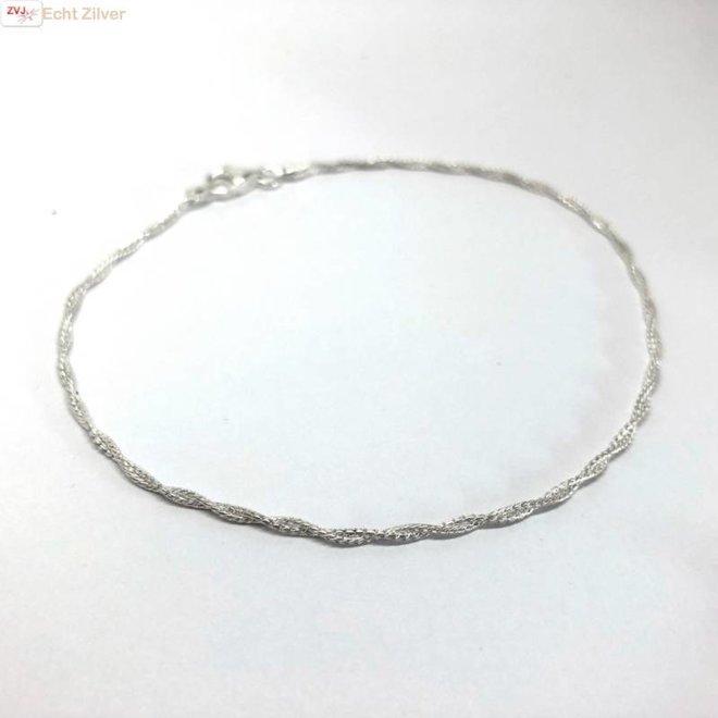 Zilveren gedraaid enkelkettinkje enkelbandje 24.5 cm