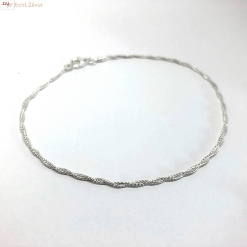 Zilveren gedraaid enkelkettinkje enkelbandje 24.5 cm-4