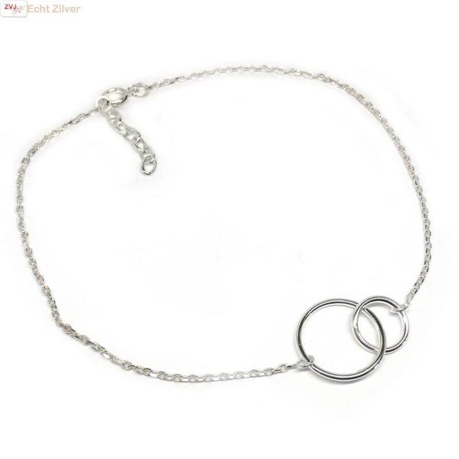Zilveren enkelketting met twee cirkels