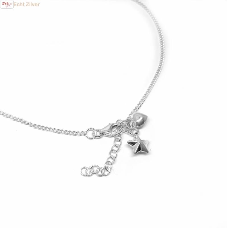 Zilveren enkelbandje met bedeltjes hart en ster-2