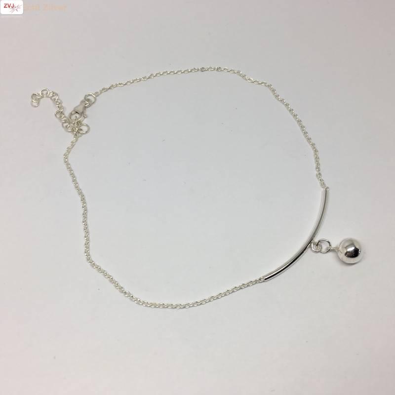 Zilveren enkelbandje staafje en balletje-2