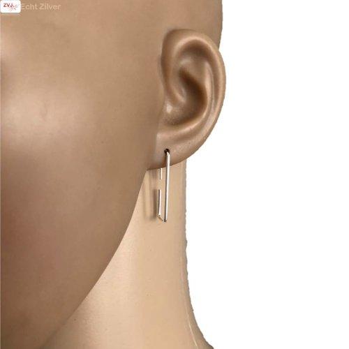 ZilverVoorJou Zilveren simpele haak oorbellen