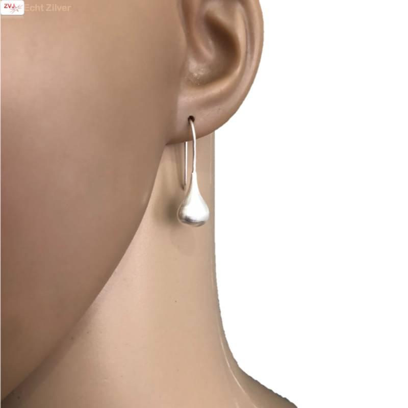 mat zilveren druppel oorhangers grote haak-2