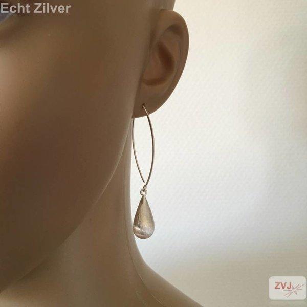 Mat zilveren druppel oorhangers