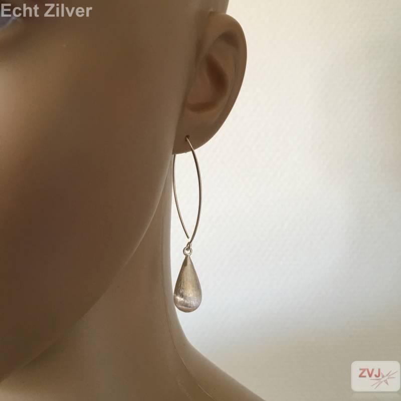 Mat zilveren druppel oorhangers-2
