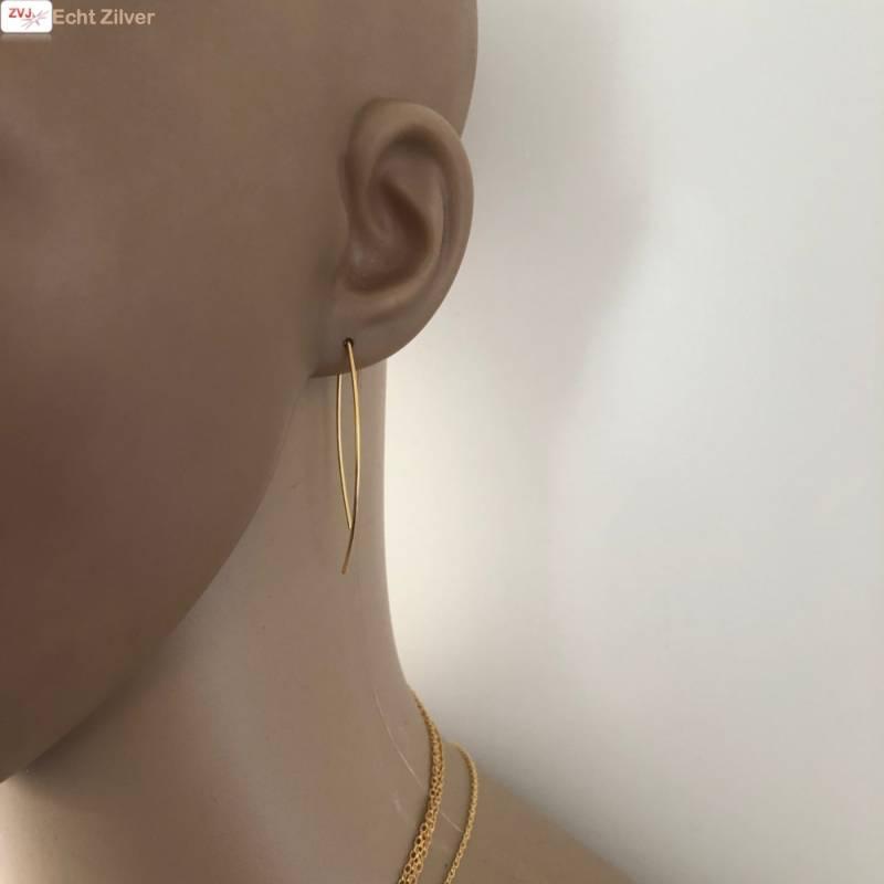 Goud op zilver simplicity draad oorhangers-2