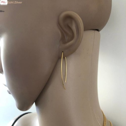 ZilverVoorJou Goud op zilver simplicity draad oorhangers