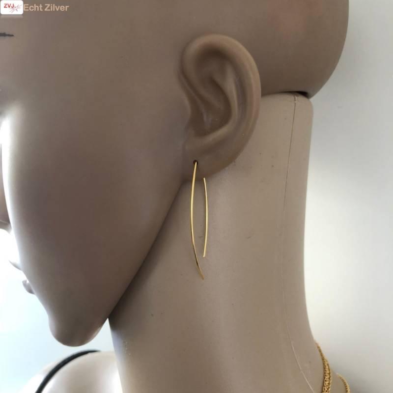 Goud op zilver simplicity draad oorhangers-3