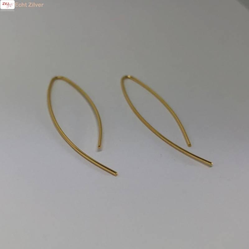 Goud op zilver simplicity draad oorhangers-4
