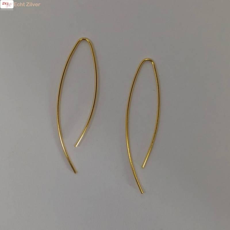 Goud op zilver simplicity draad oorhangers-5