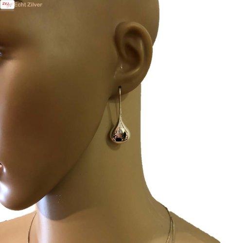 ZilverVoorJou Zilveren grote haak tapse druppel oorhangers