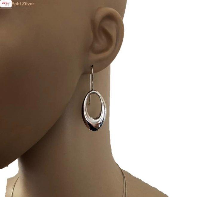 Zilveren open ovale oorhangers grote haak