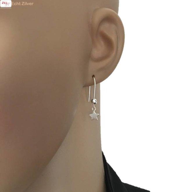 Zilveren bal ster haak oorbellen
