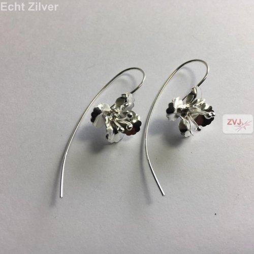 ZilverVoorJou Zilveren grote haak bloem oorbellen threader