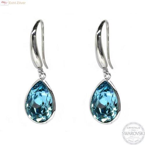 Swarovski Zilveren luxe aqua blauw Swarovski oorhangers