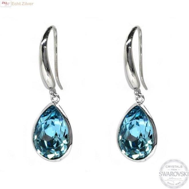 Zilveren luxe aqua blauw Swarovski oorhangers