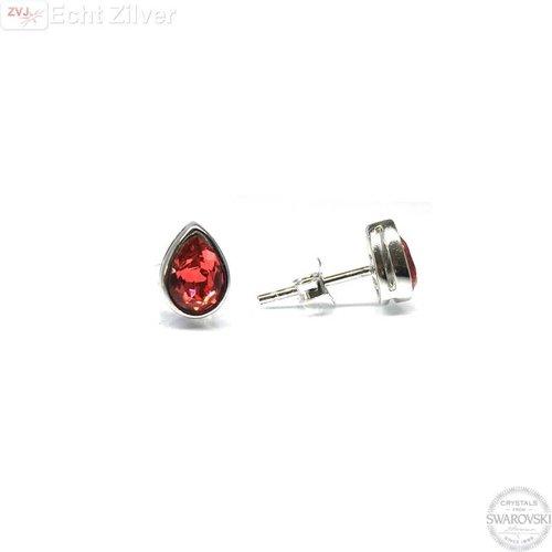 Swarovski Zilveren Swarovski druppel rode padparadscha Crystal oorstekers