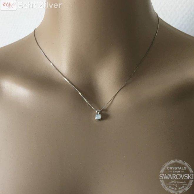 Zilveren Swarovski White Opal collier