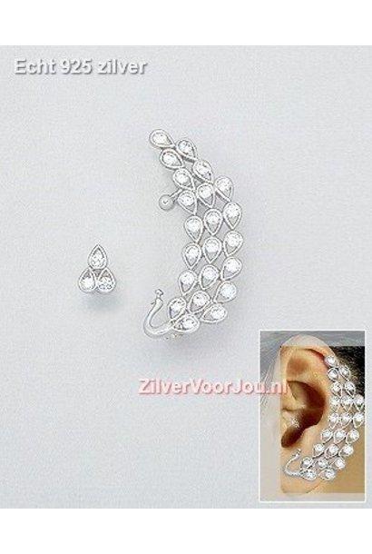 Zilveren oorsieraad cuff, oorjuweel pauw met zirkonias