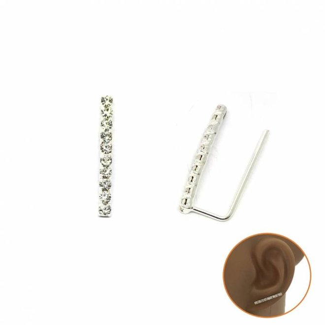 Zilveren witte kristal smalle staaf lijn cuff oorbellen