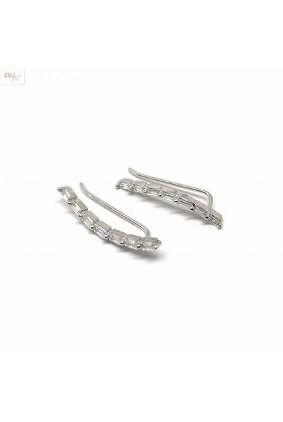 Zilveren ear pins cuff witte rechthoekige zirkonia