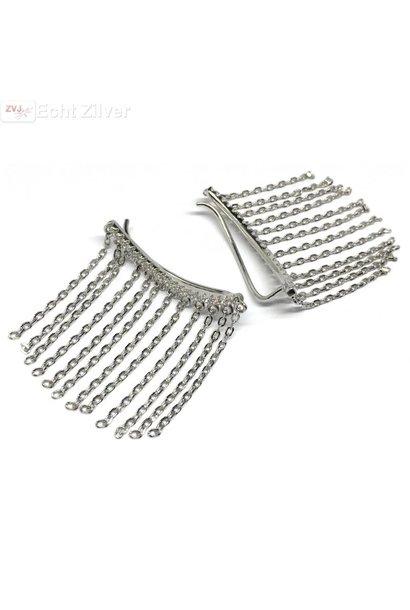 Zilveren witte cz ketting line ear cuff klem oorbellen