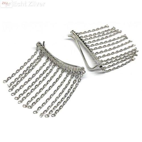 ZilverVoorJou Zilveren witte cz ketting line ear cuff klem oorbellen