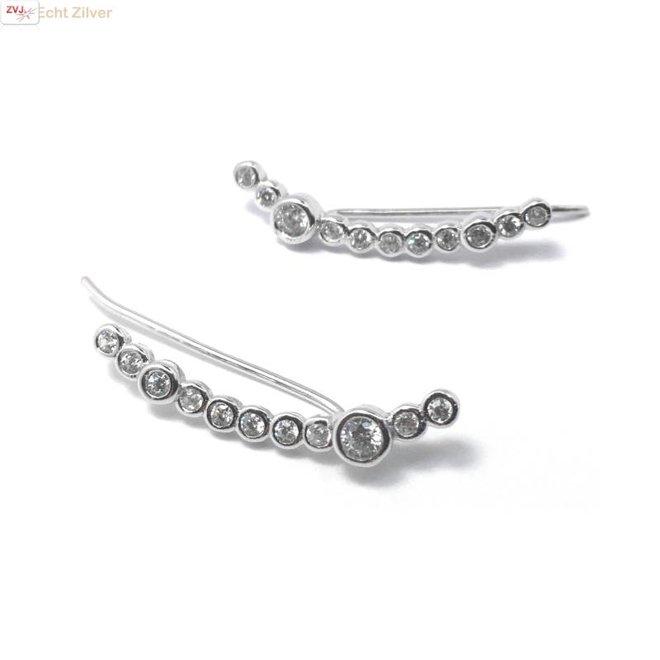 Zilveren ear cuff klem oorbellen set zirkonia