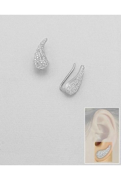 Zilveren angel wings ear cuff oor pins
