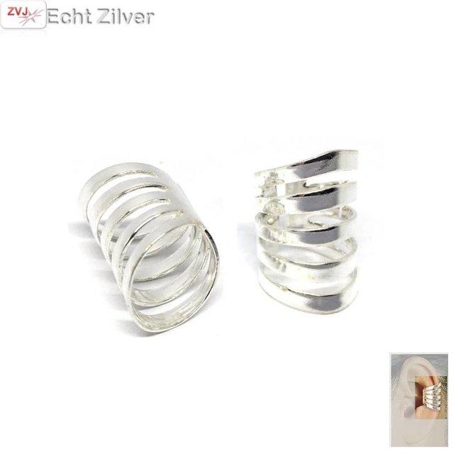 Zilveren ear cuff klem oorbellen set