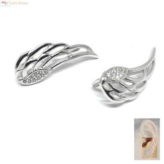 ZilverVoorJou Zilveren engelen vleugels oor line ear cuff oorbellen